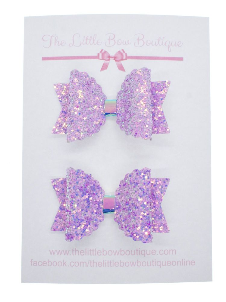 Cute Lilac Sparkles Set of 2 Small Bows