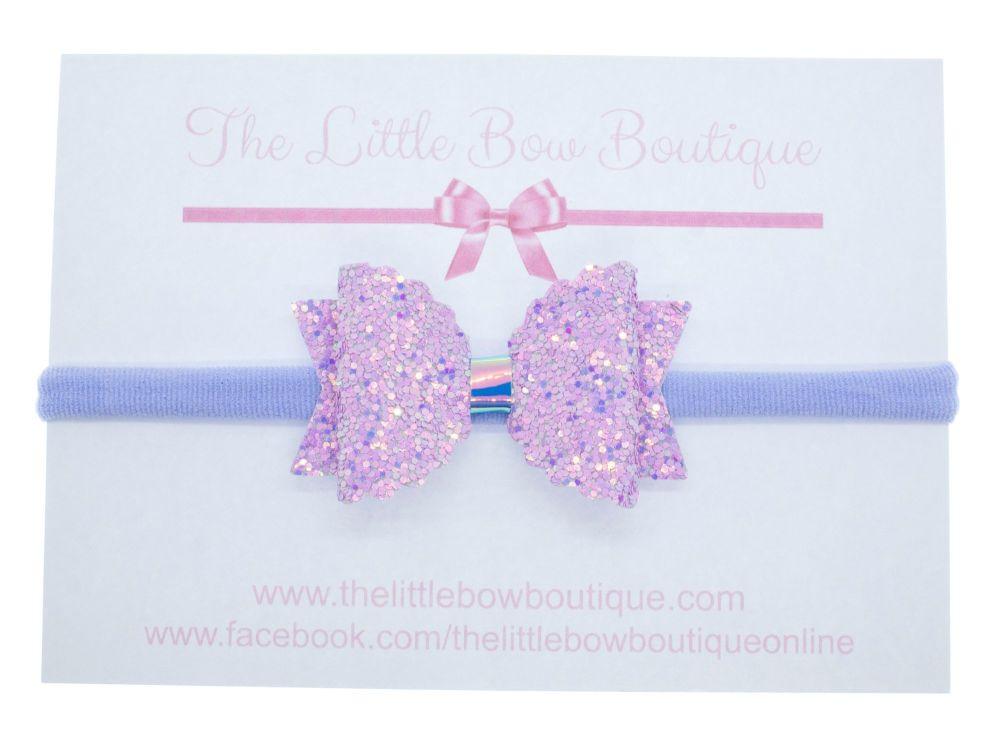 Cute Lilac Sparkles Bow Headband
