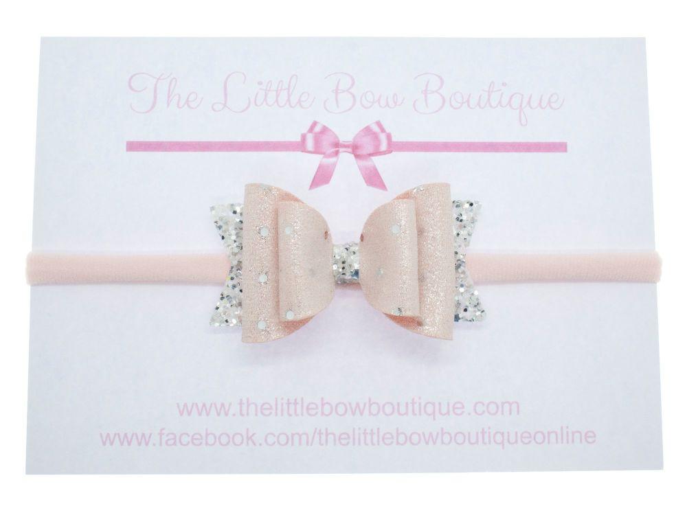 Ballet Pink Sparkle Spots Bow Headband
