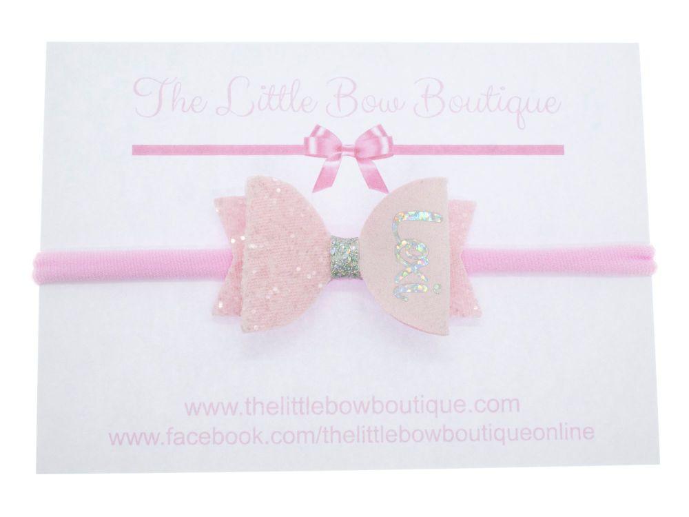 Beautiful Powder Pink Name Small Bow Headband