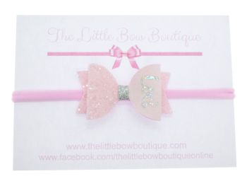 Beautiful Powder Pink Name Small Bow Headband
