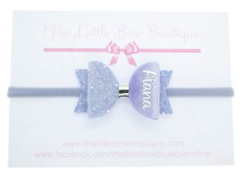 Beautiful Lilac Name Small Bow Headband