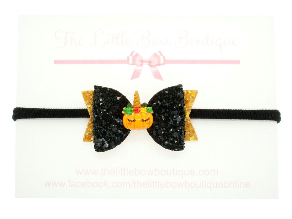 Pumpkinicorn Bow Headband