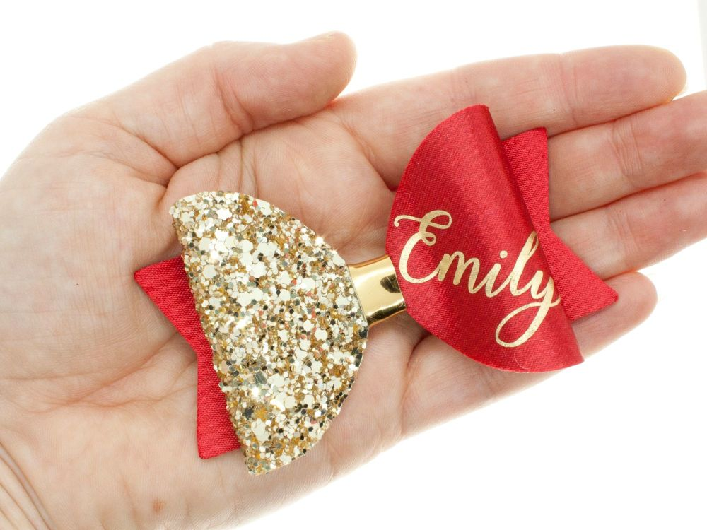 Beautiful Name Bow Red – Gold or Silver finish