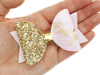 Beautiful Name Bow Pink – Gold or Silver finish