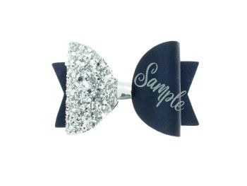 Beautiful Name Bow Navy – Gold or Silver finish