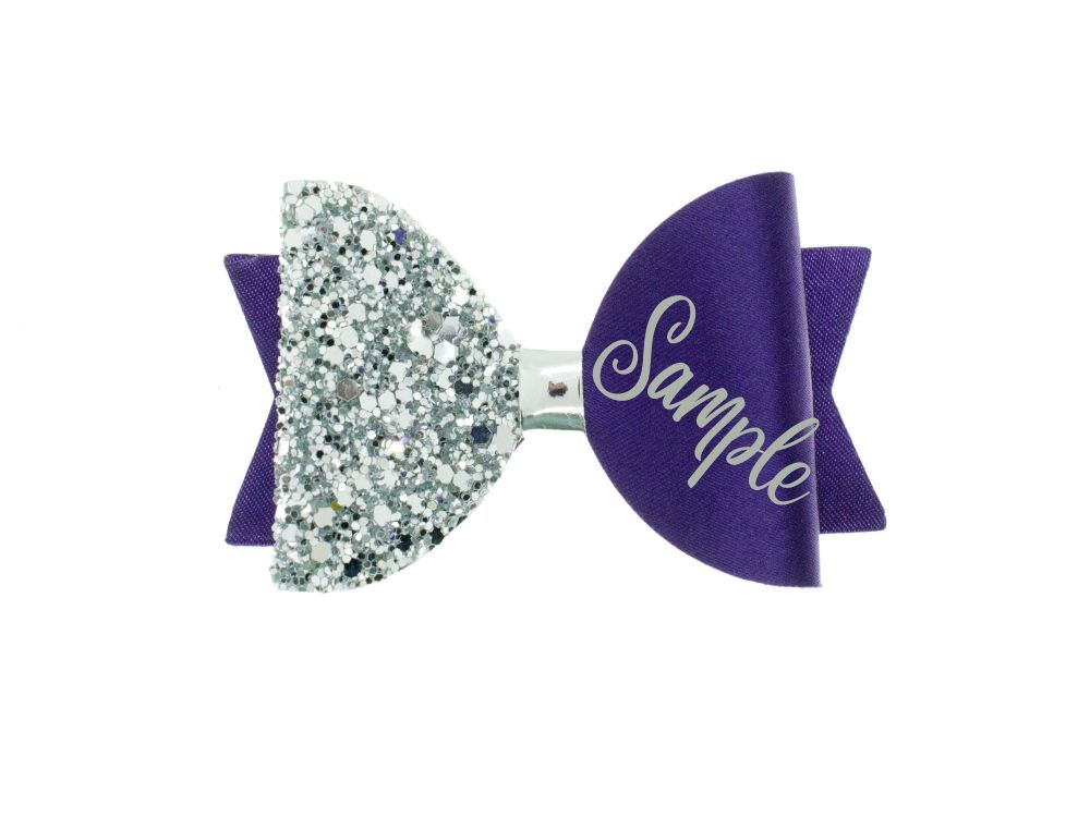 Beautiful Name Bow Purple  – Gold or Silver finish