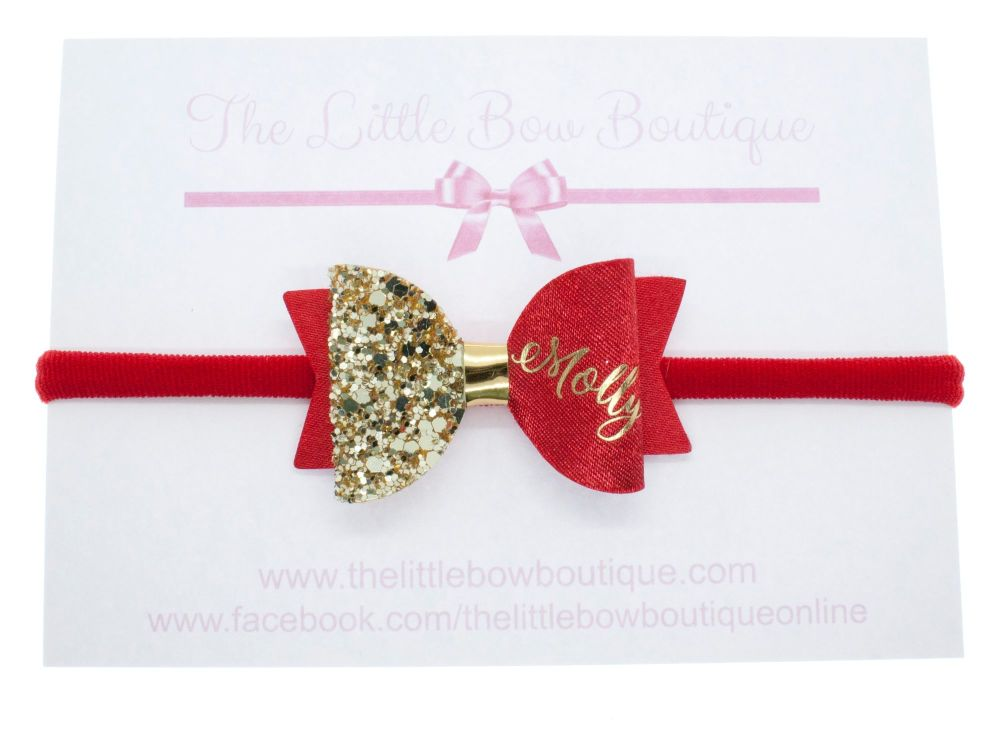 Beautiful Name Small Bow Red – Gold or Silver finish – headband or clip