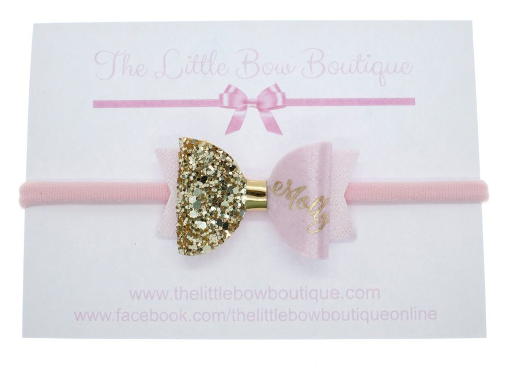 Beautiful Name Small Bow Pink – Gold or Silver finish – headband or clip