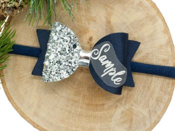 Beautiful Name Small Bow Navy – Gold or Silver finish – headband or clip