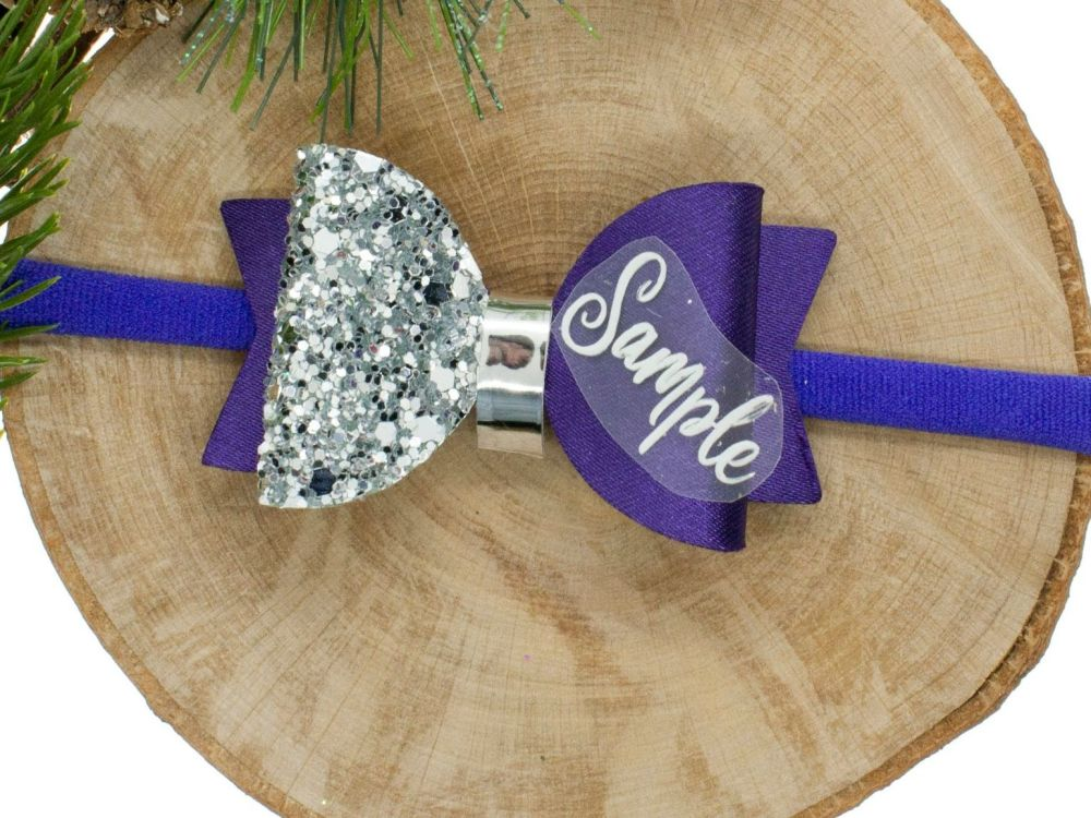 Beautiful Name Small Bow Purple– Gold or Silver finish – headband or clip