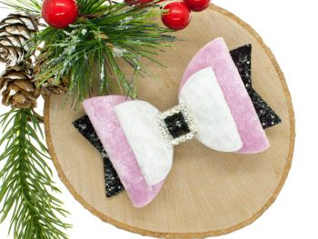Beautiful Luxury Santa Suit Bow Pink