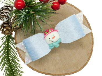 Cutest Snowman Bow Blue