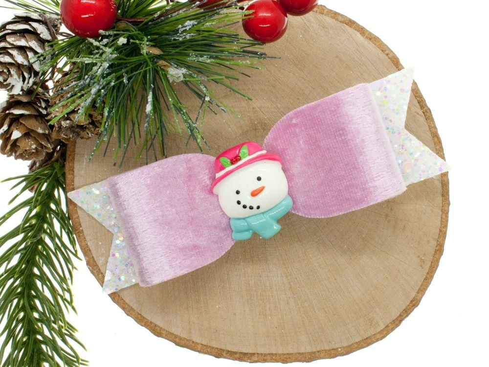 Cutest Snowman Bow Pink