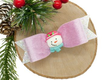 Cutest Snowman Bow Pink