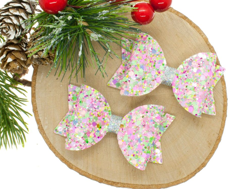 Candy Sprinkles Glitter Set of 2 Small Bows