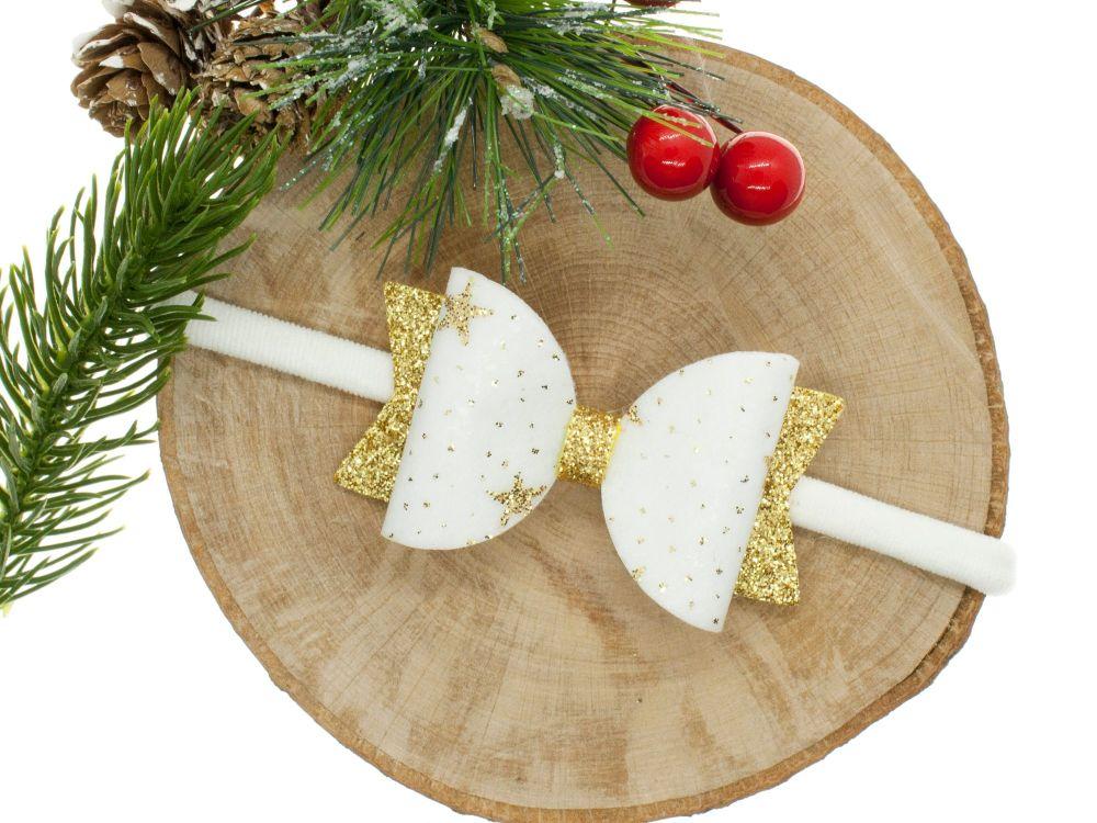 Christmas Stars Small Bow Headband