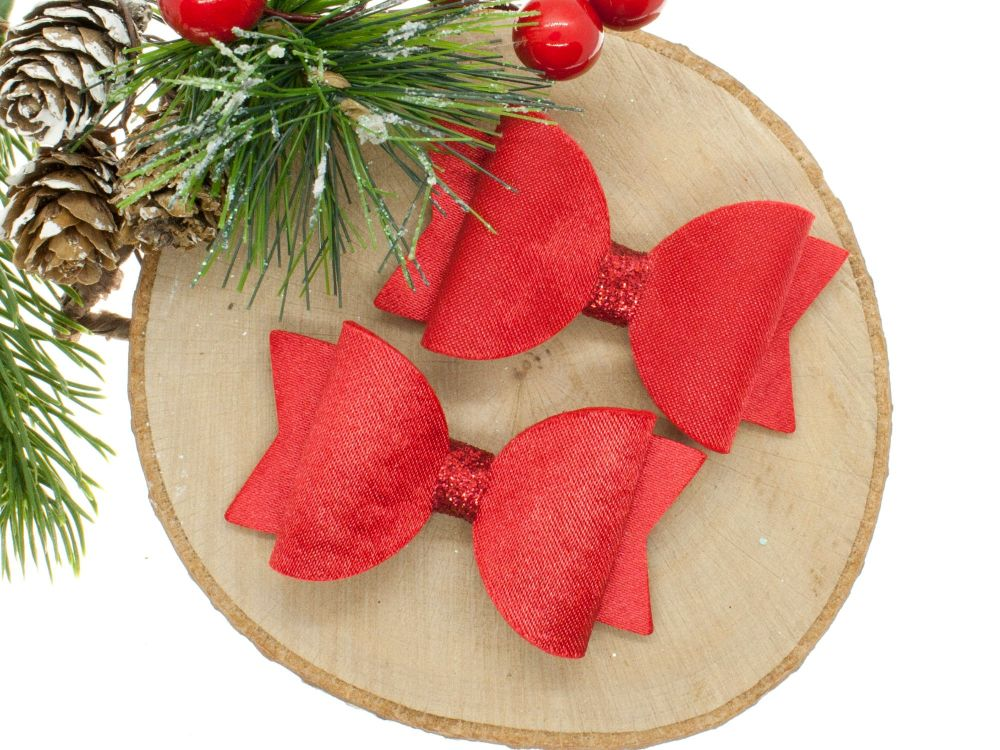 Ruby Red Satin Bows Set of 2
