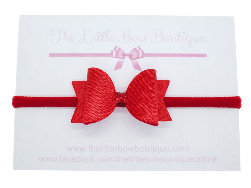 Ruby Red Satin Small Bow Headband