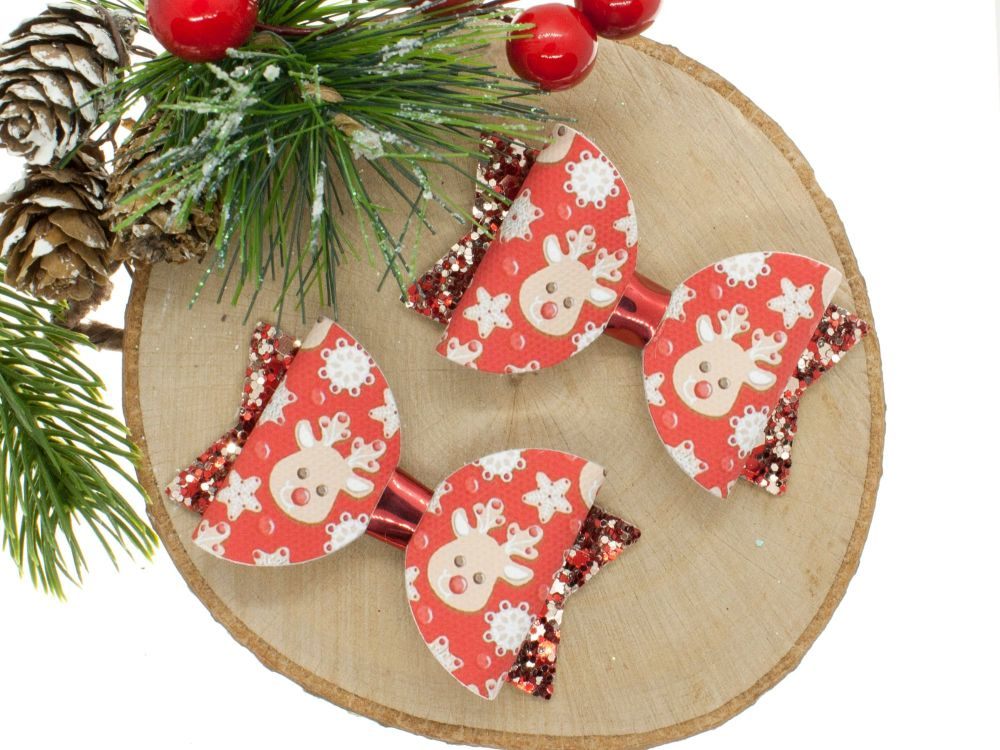 Red Nose Reindeer Set of 2 small Bows