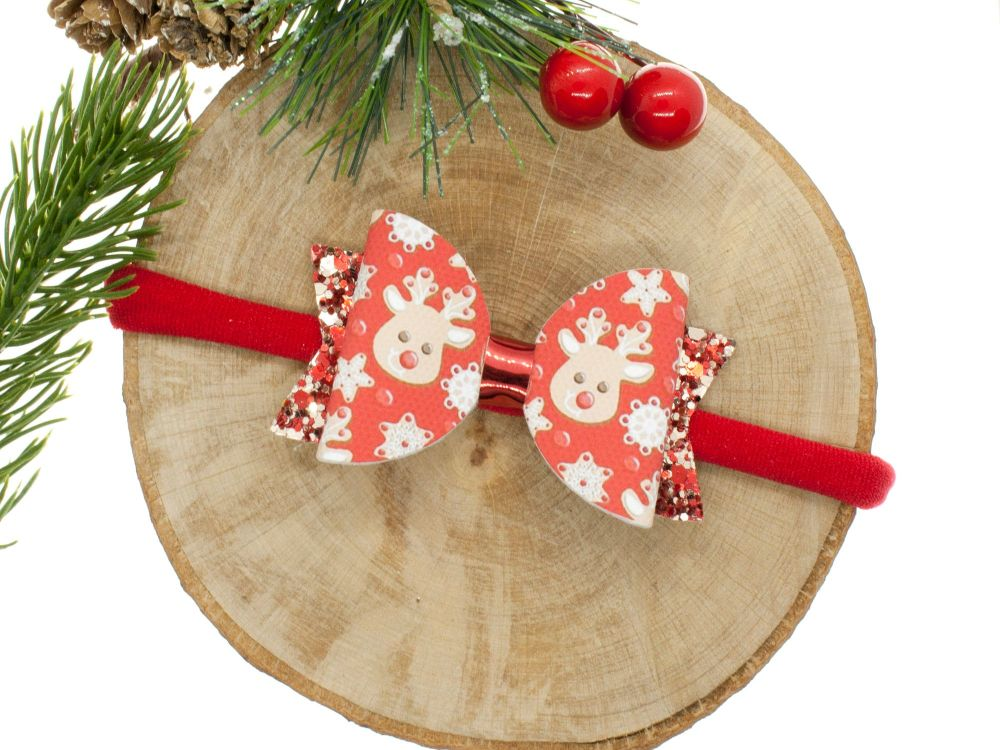 Red Nose Reindeer Small Bow Headband