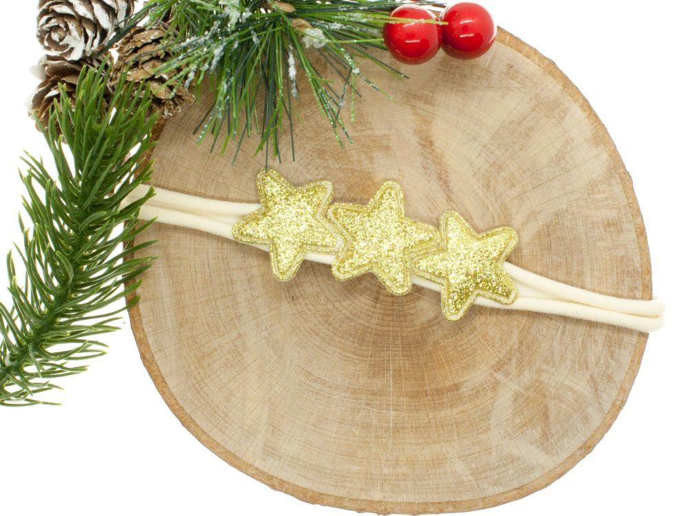 Glitter Stars Trio Headband Gold