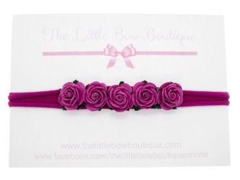 Beautiful Roses Headband - Dark Pink