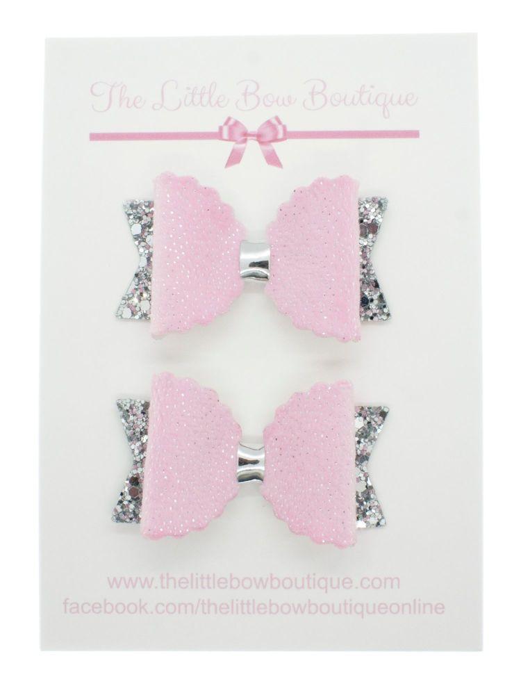 Pink Fur Luxury Bows set of 2