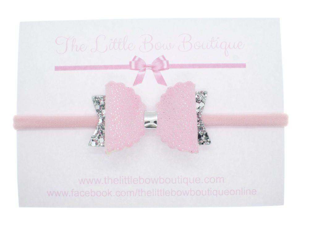 Pink Fur Luxury Small Bow Headband