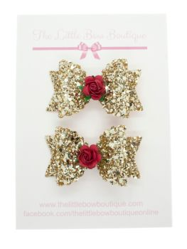 Gold Glitter Red Roses Set of 2 small bows
