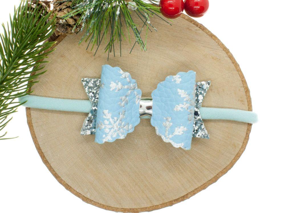 Snowflake sparkles Blue Small bows headband