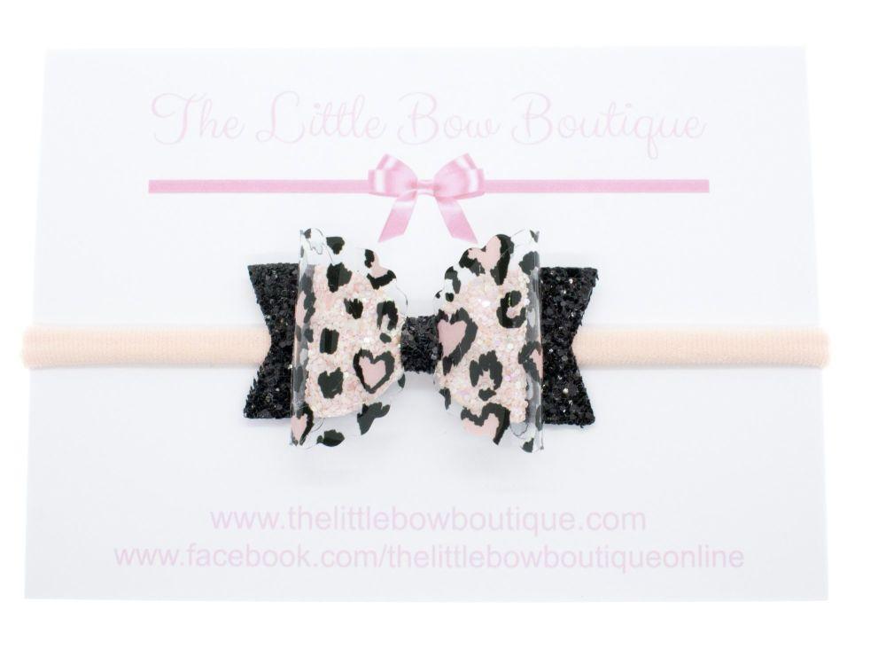 I Love Leopard Print - Small Bow on Headband or Clip