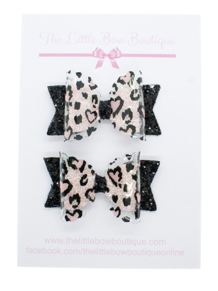 I Love Leopard Print – Set of 2 x Small Bows