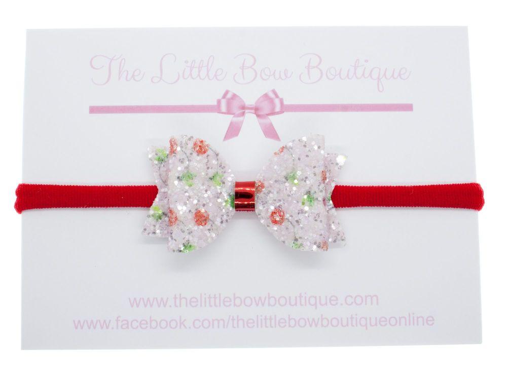 Cherry Berry Sparkles - Small Bow on Headband or Clip