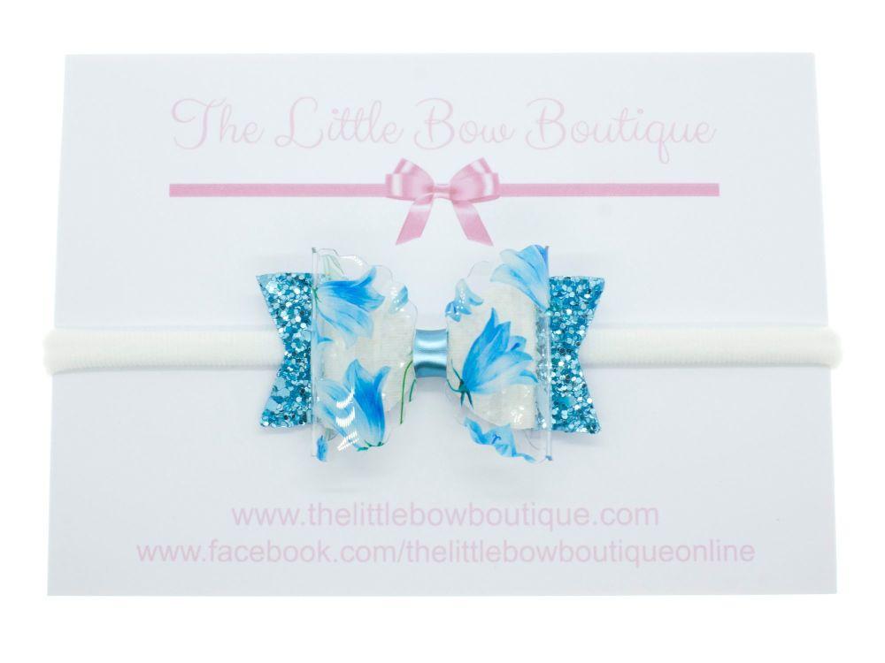 Bluebell Beauty – Small Bow on Headband or Clip
