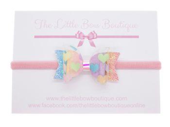 I heart Rainbows -  Small Bow on Headband or Clip