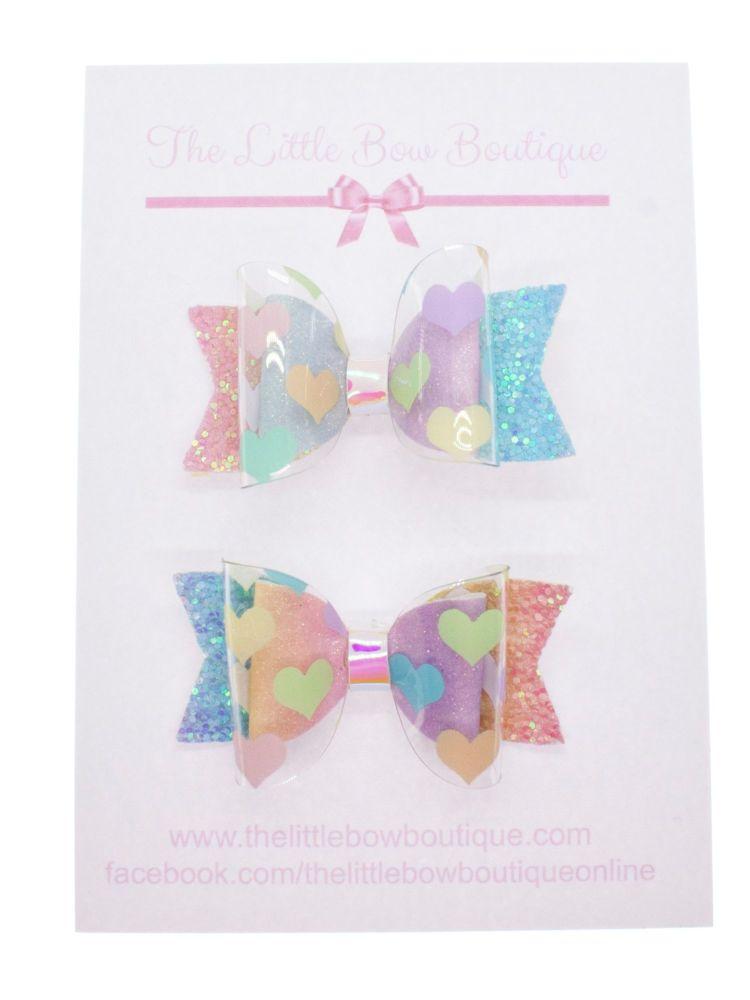 I heart Rainbows – Set of 2 x Small Bows