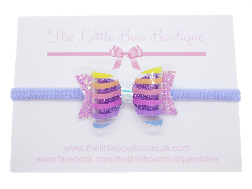 Clearly Rainbow Stripes – Small Bow on Headband or Clip