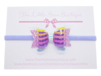 Clearly Rainbow Stripes – Small Bow on Headband or Clip