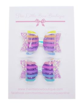 Clearly Rainbow Stripes – Set of 2 x Small Bows