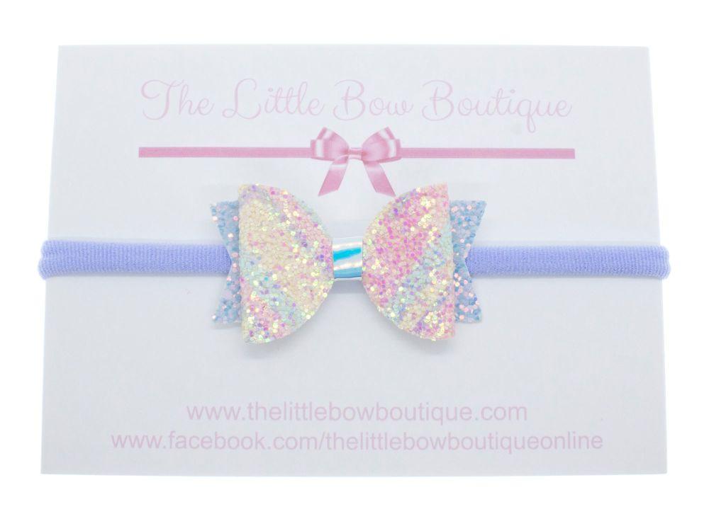 Pretty Pastels Glitter – Small Bow on Headband or Clip