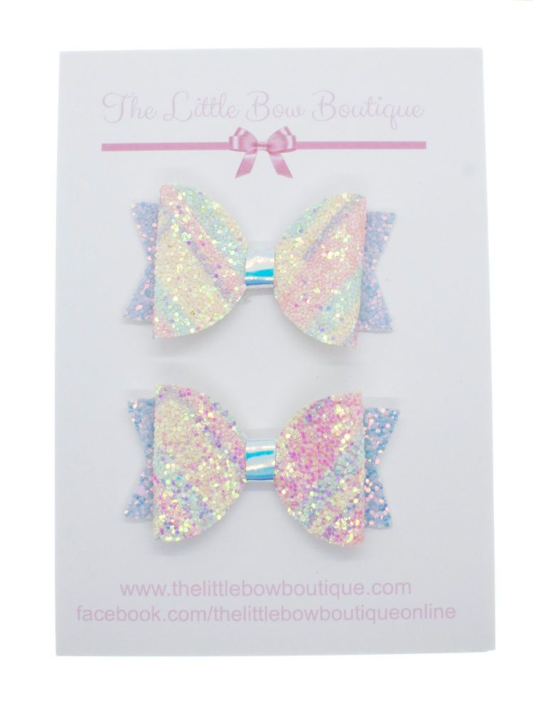 Pretty Pastels Glitter – Set of 2 x Small Bows