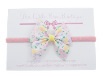 Blooming Beautiful New Shape Bow – Small Bow on Headband or Clip