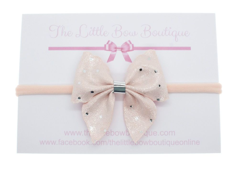 Ballet Pink Sparkle Spots New shape – Small Bow on Headband or Clip