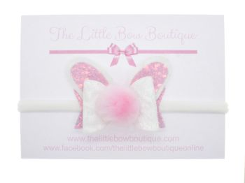 Bunny Bow Small – White Velvet – Headband or Clip