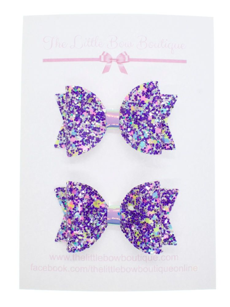 Confetti Burst Purple – Set of 2 x small bow