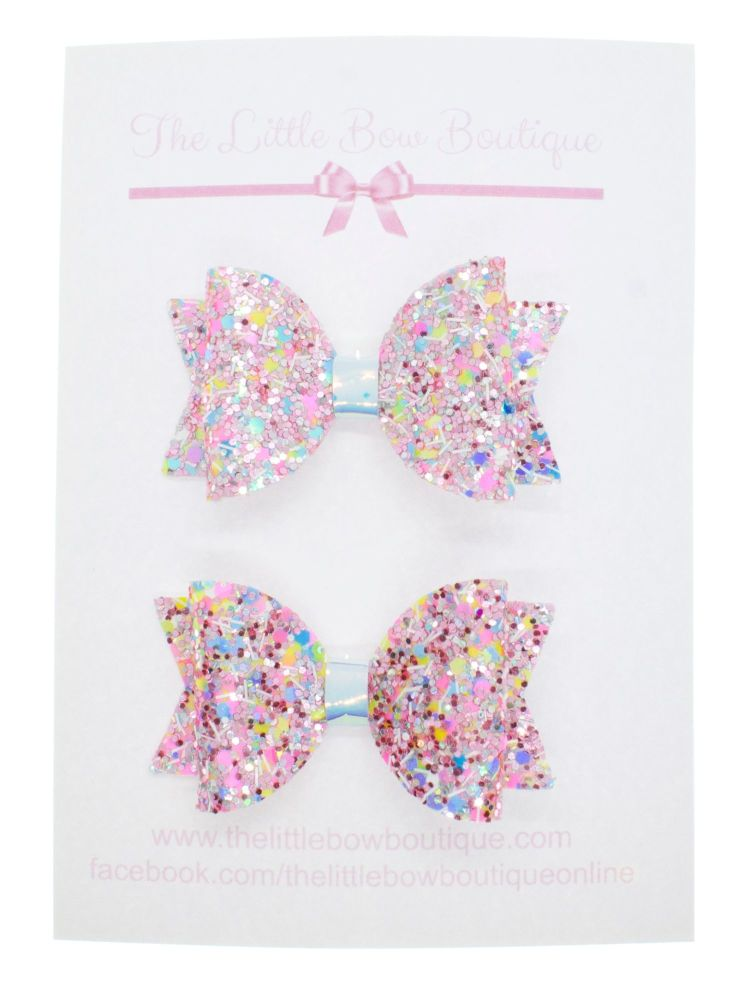Confetti Burst Pink – Set of 2 x small bow