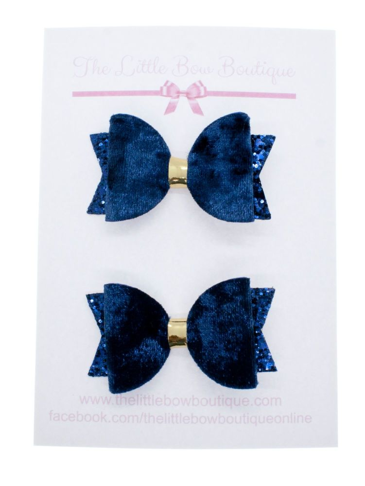 School Colours Small Set of 2 – Navy (Silver or gold centre)
