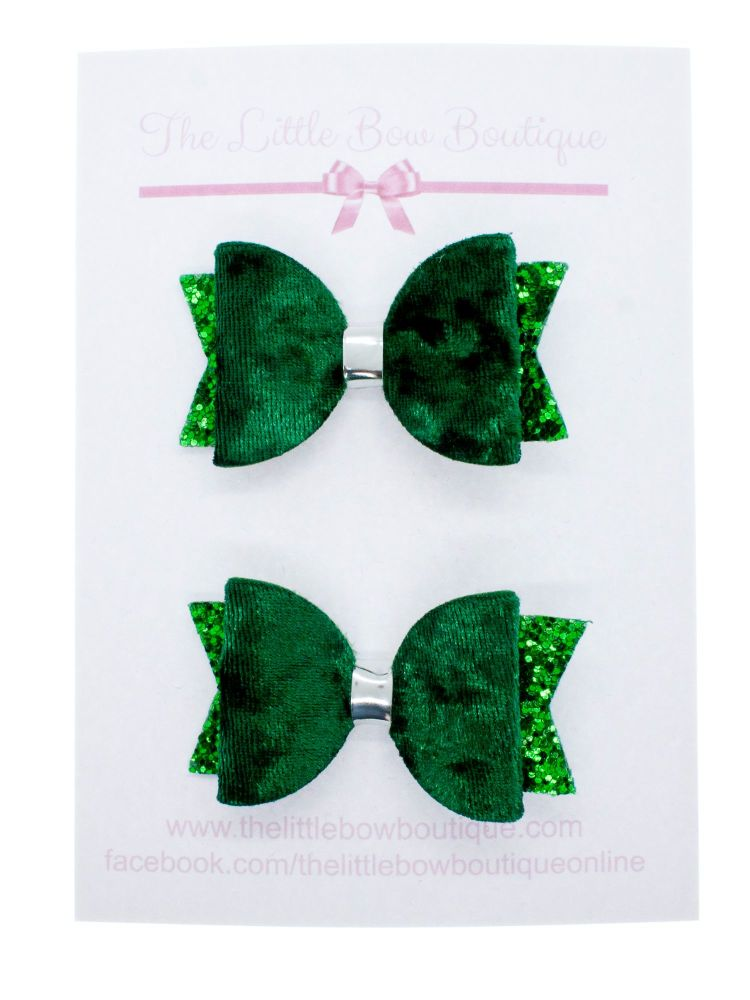 School Colours Small Set of 2 – Green (Silver or gold centre)