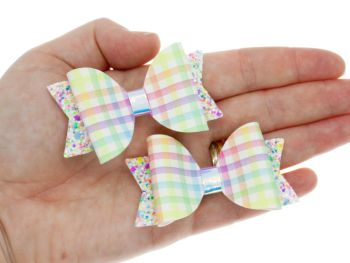 Girly Gingham Set of 2 small bows